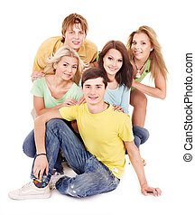 Group of young people on white.