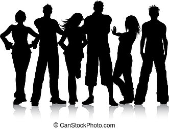 Group of young people - Silhouette of a group of young ...
