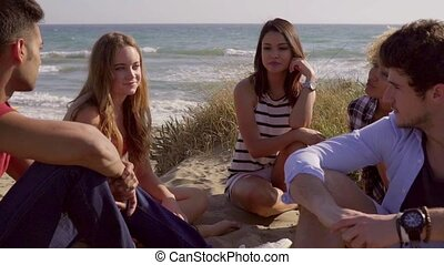 Group Of Young People Sitting On The Sandy Beach.