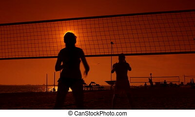 Group of young people spend a weekend playing beach volleyball