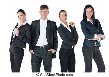 Group of young perspective businesspeople standing together. Isolated on white