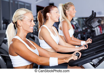 group of young women cycling in gym