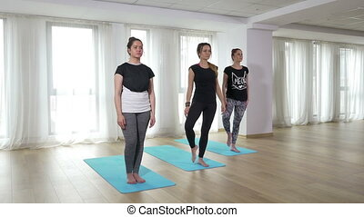 Group of young women doing yoga workout exercise at the gym