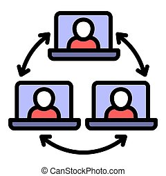 Group online webinar icon, outline style