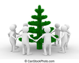 Group people around christmas tree. Isolated 3d image