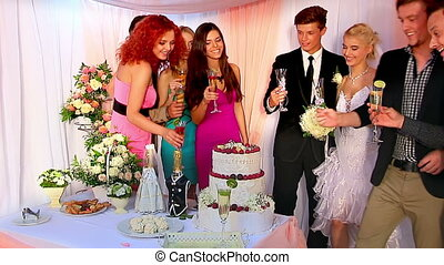 Group people at wedding table. - Group people at wedding...