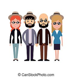 group people hipster hat sunglasses beard