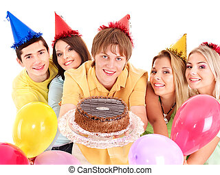 Group people holding cake.