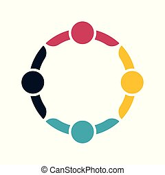 Group people logo handshake in a circle, Teamwork icon. vector illustrator