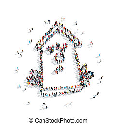 group people shape birdhouse - A group of people in the...