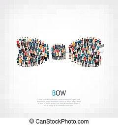 group people shape bow