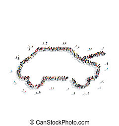 group people shape car