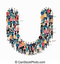 group  people  shape letter U vector