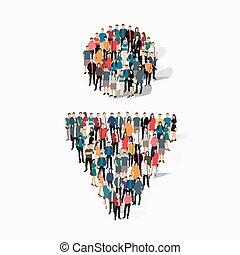 group people shape man