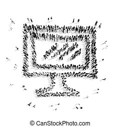 group people shape monitor cartoon