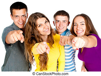 group people show forefingers - group of young people show ...