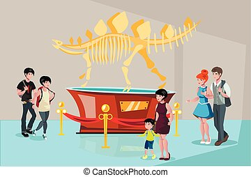 Group people watching tyrannosaurus dinosaur skeleton