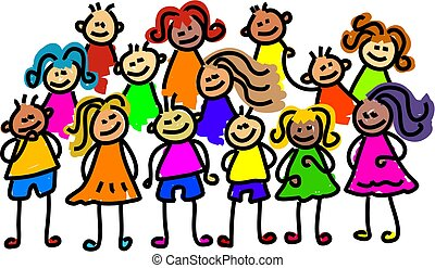 group of kids posing for a photo - toddler art