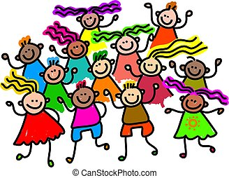 group photo - A group of happy and diverse children standing...