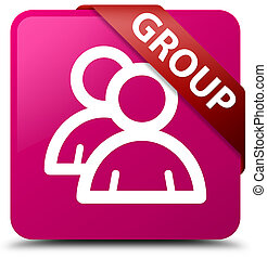 Group pink square button red ribbon in corner