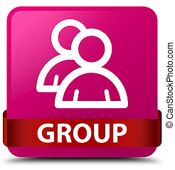 Group pink square button red ribbon in middle