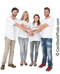 Group portrait of happy volunteers