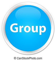Group premium cyan blue round button
