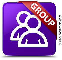 Group purple square button red ribbon in corner