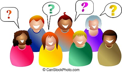 group questions - group of people in a meeting asking...