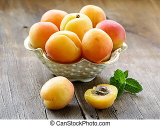 Group ripe juicy fruit apricot