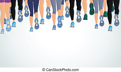 Group running people legs