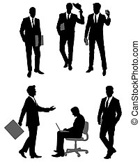 Group scene of businessmen silhouettes