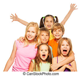 Group shoot of a six funny kids