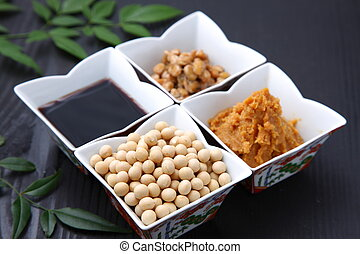 group shot of Japaneese traditional soybean processed foods Natto, soybean paste, Soybeans, Soysauce