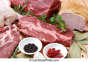 Uncooked Fresh Meats - Group Shot Of Various Uncooked Fresh ...