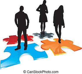 group silhouettes on puzzle field
