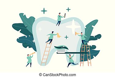 group small dentists caring for large tooth