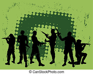 group soldiers with abstract background