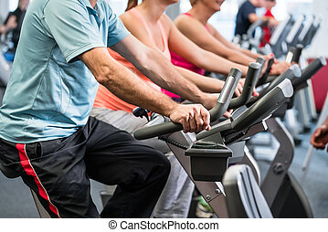 Group spinning at the gym on fitness bikes