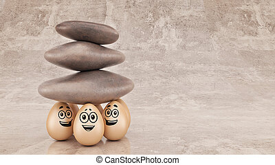 Group strength organization business concept as a rock or boulder lifted. 3d rendering