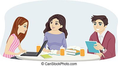 Group Study - Illustration of a Group of Teens Studying...