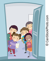 Group Study - Illustration of a Group of Kids Carrying...