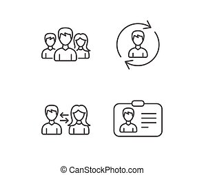 Group, Teamwork and ID card icons. - Group, Teamwork and ID...