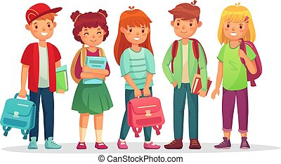 Group teen pupils. School boys and girls teens students with backpack and books. Kids pupil learning together vector illustration