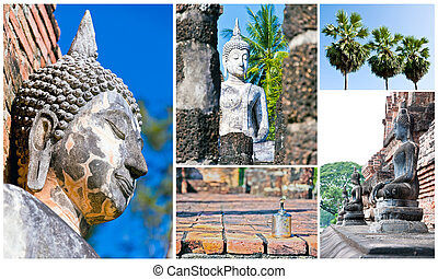 Group Temple Landmark From Thailand.
