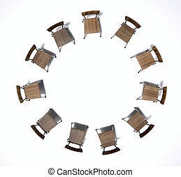 A 3D render concept of a group of chairs in a circular formation symbolizing a group therapy in session on an isolated white studio background