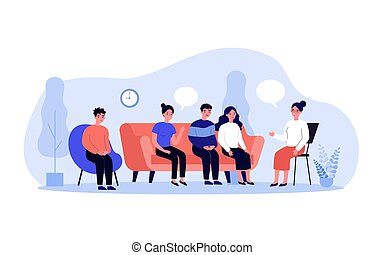 Group therapy conversation. Men and women sitting on couch together, discussing addiction problems with psychologist. Can be used for support session, counseling concept