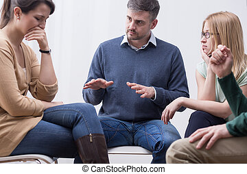 Group therapy session can help express emotions - Group...