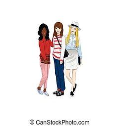 Group Three Cute Girl Friends