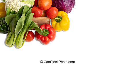 Group vegetables isolate on the white background